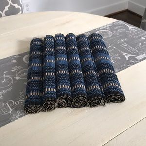 Crate & Barrel wooden navy placemats